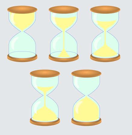 砂時計のアイコンのセット。インターフェイス、サイト、またはアプリケーションのテンプレート。ベクトルイラスト  イラスト・ベクター素材