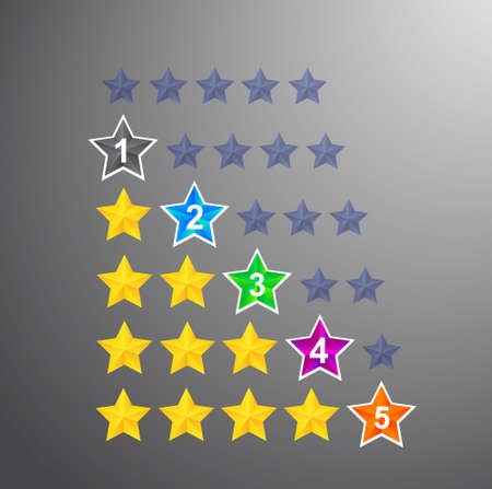 Set of star rating. Templates for any interface, site or application for determining grades, or for expressing an opinion about the service or product. Vector illustration.