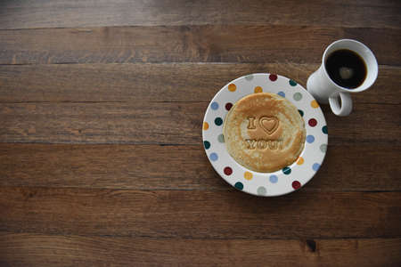 conceptional: Novelty i love you pancake and coffee Stock Photo