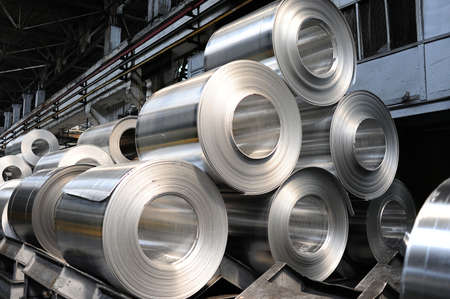 leaden: Rolls of steel sheet