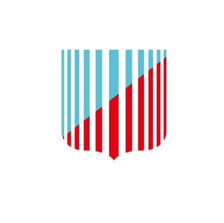Escudo azul y rojo con rayas Un dise�o de logotipo que indica la seguridad Este logo es adecuado para Seguros, Hoteles, ambientales, tecnol�gicas, los sectores de bienes ra�ces y m�dicos 123RF LOGO EXCLUSIVO - 25383981