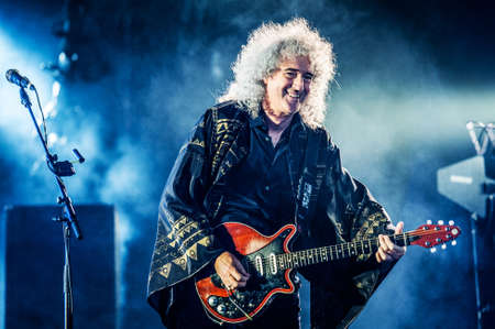 hair band: British rock band Queen performing live at Olimpiyskiy stadium, Moscow, Russia during world Tour