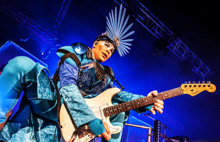 Australian electropop band Empire of the Sun performing live at Arena club, Moscow, Russia