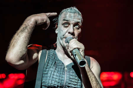 German heavy-metal band Rammstein performing live at Olimpiyskiy stadium, Moscow, Russia during  Made in Germany  world Tour