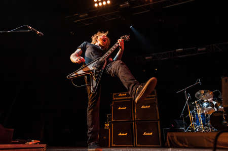 indie: American heavy-metal Mastodon performing live at Arena club, Moscow, Russia.