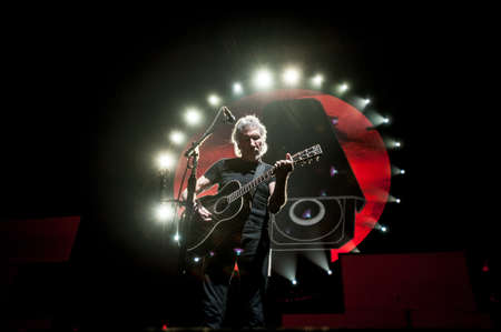 British musician Roger Waters performing The  Wall live at Olimpiyski stadium, Moscow during The Wall World Tour.