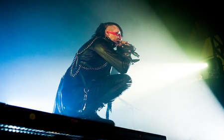 American alternative metal band Marylin Manson performing live at Arena club, Moscow, Russia. Stock Photo - 21348812
