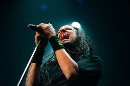 Korn: American alternative metal band Korn performing live at Stadium club, Moscow, Russia.