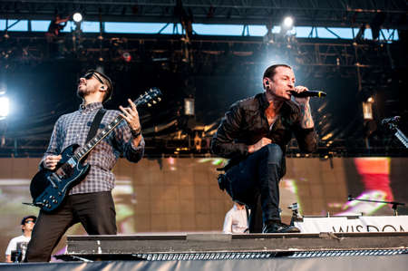 American alternative metal band Linkin Park performing live at Maxidrom festival, Moscow, Russia. Editorial
