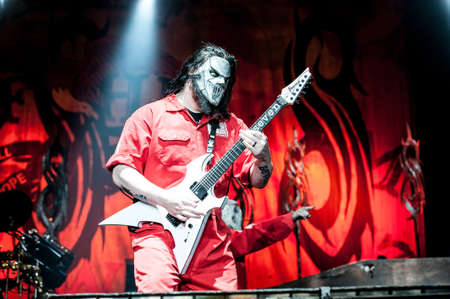 slipknot: American heavy-metal band Slipknot performing at Olimpiyski stadium, Moscow during Memorial World Tour