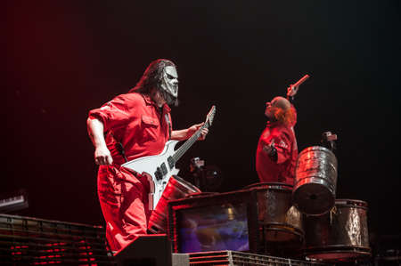 American heavy-metal band Slipknot performing at Olimpiyski stadium, Moscow during Memorial World Tour