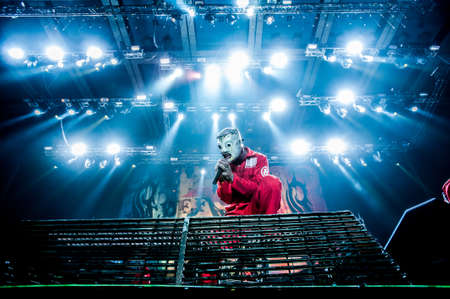 nu: American heavy-metal band Slipknot performing at Olimpiyski stadium, Moscow during Memorial World Tour