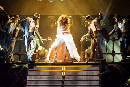jennifer: American singer Jennifer Lopez performing live at Crocus Citi Hall club, Moscow, Russia.