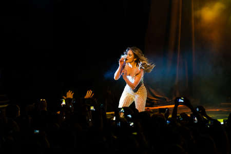 jennifer: American singer Jennifer Lopez performing live at Crocus Citi Hall club, Moscow, Russia.