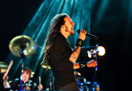 Korn: Vocalist Jonathan Davis of the Heavy Metal band Korn performs in concert on Sziget Feztival