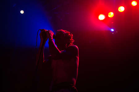indie: British musician Tricky performed performs in concert in Moscow Hall club, Moscow, Russia
