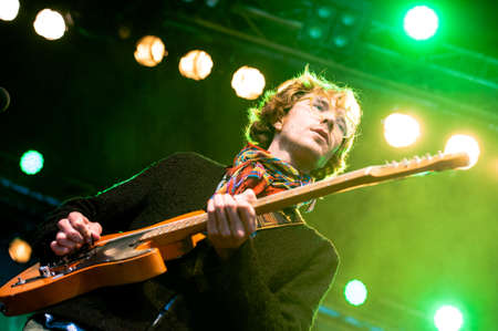 Vocalist Erlend Oye of the indie-rock band Kings of Convenience performs in concert on Traena Festival, Norway