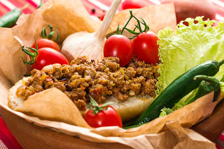 Sandwich with minced meat mexican style with vegetables Stock Photo