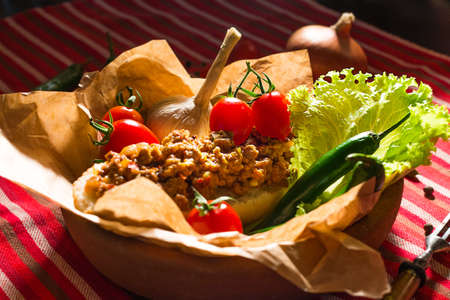 Sandwich with minced meat mexican style with vegetables photo