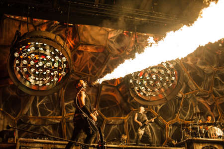 olimpiysky: 10 february, 2012 - Moscow, Russia - German heavy-metal band Rammstein performing live at Olimpiysky Stadium, Moscow, Russia. Editorial