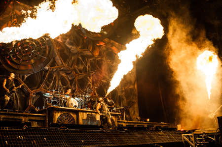 10 february, 2012 - Moscow, Russia - German heavy-metal band Rammstein performing live at Olimpiysky Stadium, Moscow, Russia. Editorial