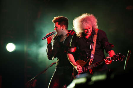 olimpiyskiy: 3 july, 2012 - Moscow, Russia - British rock band Queen performing live at Olimpiyskiy stadium during world Tour