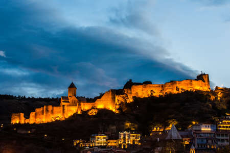 Medieval fortress of Narikala at night, Tbilisi, Georgia
