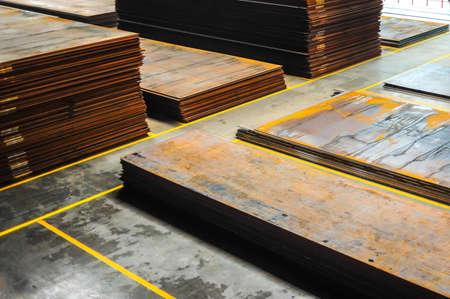 chelyabinsk: Stacked rusty steel metal sheet on plant