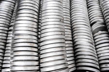 smelting plant: Stacked aluminium details in smelting plant Stock Photo