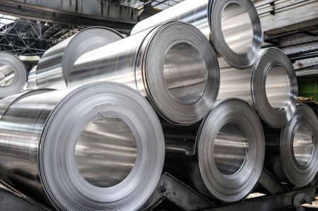 leaden: Rolls of aluminium sheet