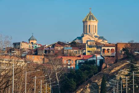 sacred trinity: View of Sameba church  in Tbilisi, Georgia Stock Photo