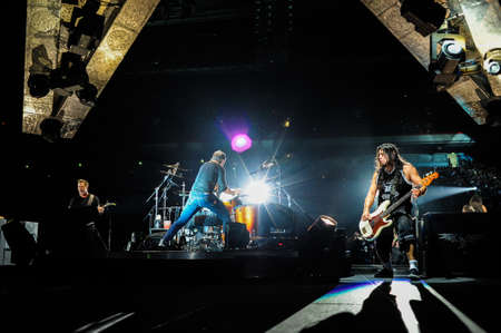 24 April, 2010 - Moscow, Russia - American rock band Metallica performing live at Olimpiysky stadium.