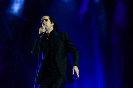 primavera: BARCELONA - MAY 25, 2013 - Australian singer-songwriter Nick Cave performs at Primavera Sound 2013 Festival on May 25, 2013 in Barcelona, Spain. Editorial