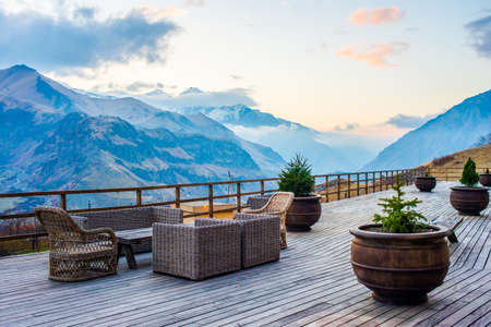 hotel balcony: Terrace with beautiful mountain sunset view