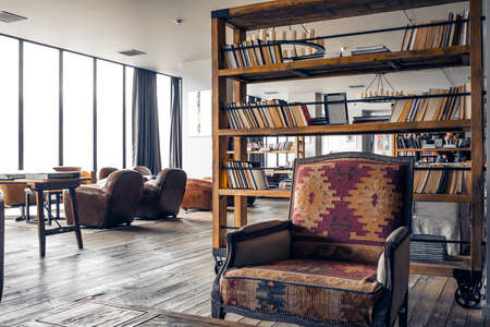 wooden floors: Interior in retro style with wooden floors