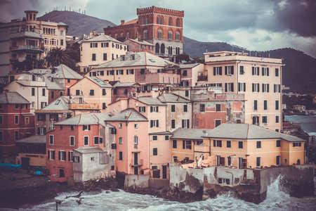 italian village: Boccadasse, a picturesque quarter of Genoa, Italy. Toned picture Stock Photo