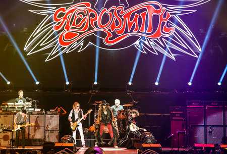 olimpiysky: MOSCOW, RUSSIA - MAY 24, 2014 - Amerocan rock band Aerosmith performs at Olimpiysky on May 24, 2014 in Moscow