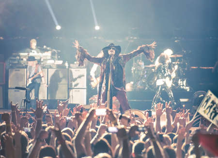olimpiysky: MOSCOW, RUSSIA - MAY 24, 2014 - Amerocan rock band Aerosmith performs at Olimpiysky on May 24, 2014 in Moscow