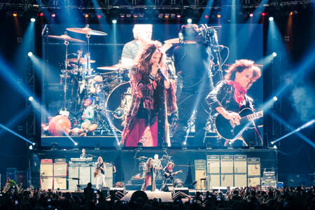 MOSCOW, RUSSIA - MAY 24, 2014 - Amerocan rock band Aerosmith performs at Olimpiysky on May 24, 2014 in Moscow