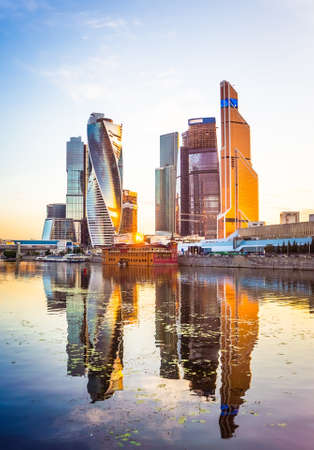 Beautiful evening view of famous skyscrapers in Moscow City international business center, Moscow, Russia Фото со стока