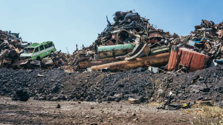 grabber: Huge pile of scrap metal junk garbage Stock Photo
