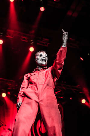 nu: MOSCOW, RUSSIA - JUNE 29, 2011: American heavy-metal band Slipknot performing at Olimpiyski stadium, Moscow during Memorial World Tour