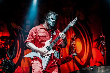 taylor: MOSCOW, RUSSIA - JUNE 29, 2011: American heavy-metal band Slipknot performing at Olimpiyski stadium, Moscow during Memorial World Tour