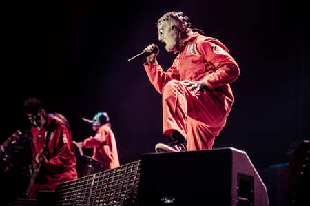 MOSCOW, RUSSIA - JUNE 29, 2011: American heavy-metal band Slipknot performing at Olimpiyski stadium, Moscow during Memorial World Tour. Toned picture