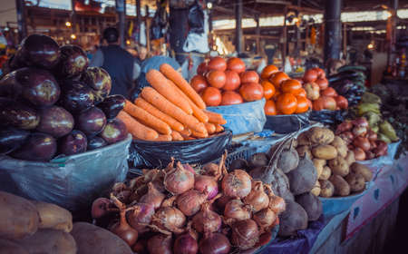 Fresh and organic vegetables at farmers market in Georgia. Toned picture