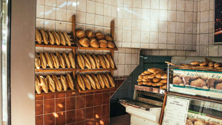 pastry shop: ISTANBUL, TURKEY - october 23, 2014: Loafs of bread on display in bakery in Istanbul, Turkey