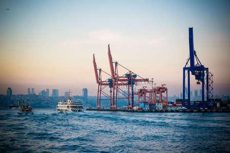haydarpasa: ISTANBUL, TURKEY - OCTOBER 24, 2014 : Cranes in Haydarpasa Cargo Port in Istanbul, Turkey. Toned image.