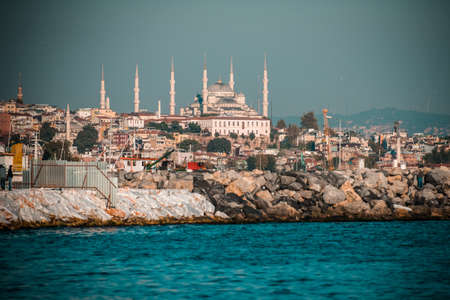 blue mosque: Blue Mosque is seen from Bosphorus in Istanbul, Turkey.