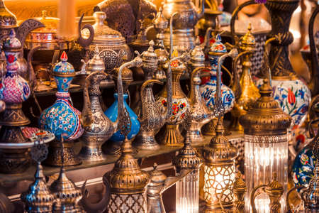 grand sale: Turkish ceramic and copper jars on sale at the Grand Bazaar in Istanbul, Turkey. Stock Photo