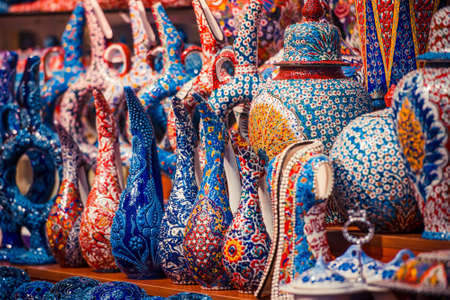Collection of turkish ceramics on sale at the Grand Bazaar in Istanbul, Turkey.